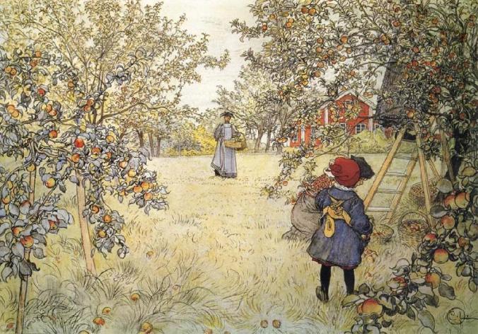 Carl Larsson - September - Äppelskörden