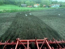 Kryssharvning inuti traktorn